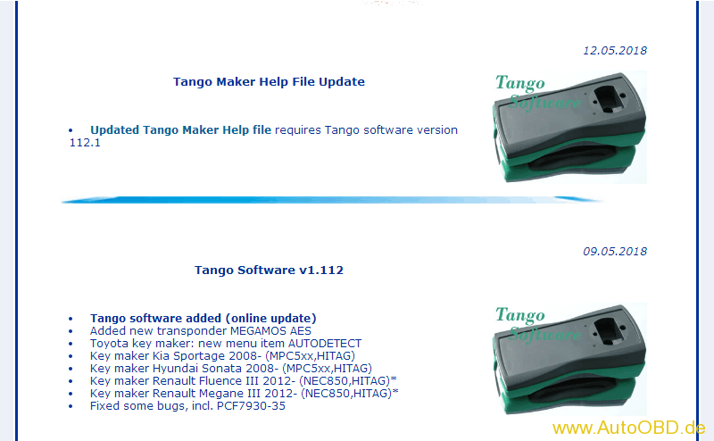 Tango Software v1 112 Tango software added (online update