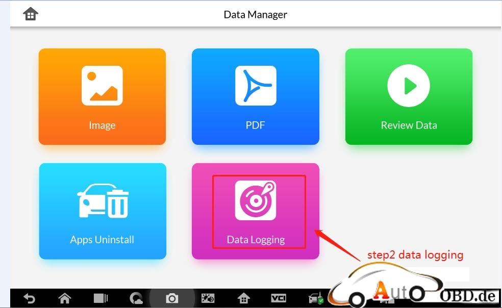 "Step 2: Click ""Data Logging"""