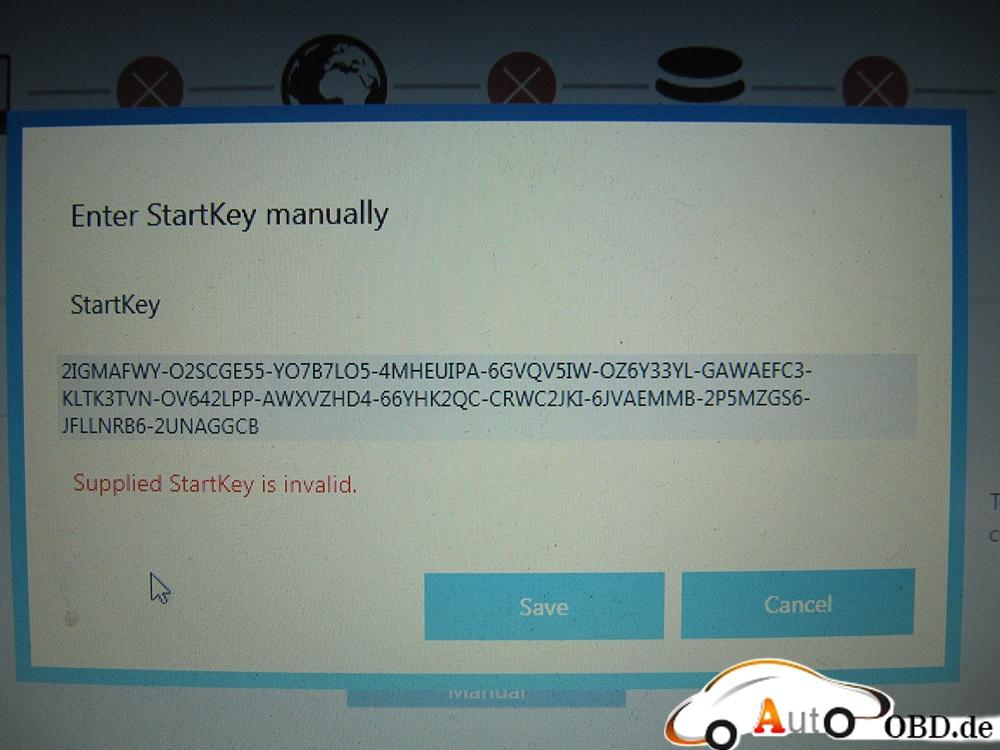 Supplied StarKey is invalid